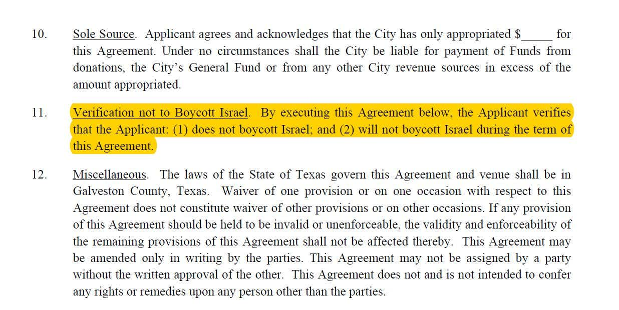 Excerpt from the city of Dickinson Hurricane Harvey Repair Grant Application and Agreement.