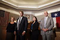 From left to right, members of the first Dallas County conviction integrity unit, paralegal Jena Parker, prosecutor Mike Ware, prosecutor Cynthia R. Garza and investigator James Hammond. After leading Dallas County's first office that investigated inmates' innocence claims, Ware now leads the Innocence Project of Texas.(Kye R. Lee/Staff Photographer)