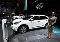 The Kia Niro plug-in hybrid, shown here at the International Frankfurt Motor Show IAA in Frankfurt, Germany, in September, was deemed to be the most reliable vehicle in Consumer Reports' 2017 ranking. (Martin Meissner/AP)