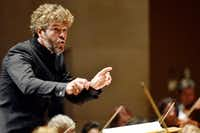 Guest conductor Pablo Heras-Casado conducts the Dallas Symphony Orchestra during a performance of Debussy La Mer (The Sea), Thursday evening.(Ben Torres/Special Contributor)