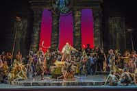 Richard Paul Fink as the High Priest of Dagon whips the revelers into a frenzy in a scene from <i>Samson and Dalila</i>. (Karen Almond/The Dallas Opera)