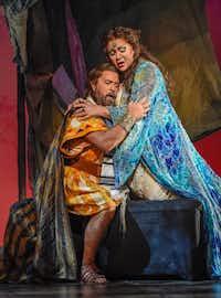 Samson (Clifton Forbis) and Dalila (Olga Borodina) in a scene from the Dallas Opera's production of <i>Samson and Dalila</i>.(Karen Almond/The Dallas Opera)