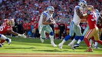 Dallas Cowboys quarterback Dak Prescott (4) calls his own number on a 2-yard touchdown run during the third quarter as the Cowboys beat the San Francisco 49ers 40-10 on Sunday, Oct. 22, 2017 at Levi's Stadium in Santa Clara, Calif. (Max Faulkner/TNS)