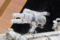 On Dec. 21, 2015, Scott Kelly participated in a spacewalk outside the International Space Station in which he and flight engineer Tim Kopra moved the station's mobile transporter rail car ahead of the docking of a Russian cargo supply spacecraft.(NASA)