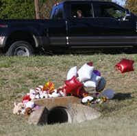Miley Grahmann, 8, peeks out a truck to see a small memorial in the area where Sherin Mathews' body was found in Richardson. Miley had previously seen Sherin in the area while riding around with her father.(Nathan Hunsinger/Staff Photographer)