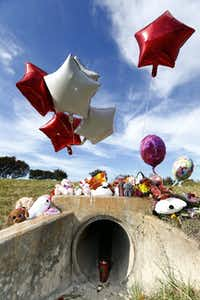 A memorial has grown in the culvert where the body of a small child was found in Richardson.(Nathan Hunsinger/Staff Photographer)