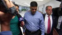Wesley Mathews, adoptive father of Sherin Mathews, ignores questions as he leaves a court appearance at the Henry Wade Juvenile Justice Center in Dallas after a custodial hearing.(NBC5)