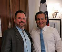 West Texas pecan grower Kevin Ivey (left), president of the U.S. Pecan Growers Council, met last spring in Washington with Texas Sen. Ted Cruz to make the case that India needs to lower its pecan tariff.(Kevin Ivey)