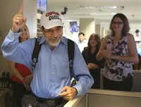 A typical moment of Jeffrey Weiss being himself, as he bade farewell to friends and co-workers at The Dallas Morning News in September 2017. (Louis DeLuca/Staff Photographer)