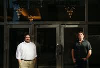Patrick Hazard (left), project architect, and John Kirtland, owner and developer, stand outside 1900 Pacific Residences at 1900 Pacific Avenue in downtown Dallas.(Andy Jacobsohn/Staff Photographer)
