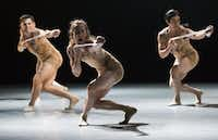 David Escoto (left), Brock James Henderson (center) and Nestor Perez perform in <i>Skin</i>, choreographed by Andy and Dionne Noble, during a dress rehearsal of the show <i>Six </i>by the Bruce Wood Dance Project on June 17, 2016, at Dallas City Performance Hall.&nbsp;&nbsp;(Ashley Landis/Staff Photographer)