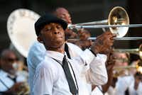 Michelle Gibson, grand marshal of The Kickin' Brass Band, performs on stage at the Arts District Block Party on Friday, June 16, 2017 in Dallas.(Jeffrey McWhorter/Special Contributor)