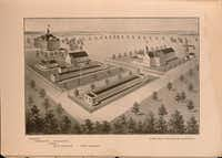 A 1906 artist rendering shows plans for an expanded Carlisle Military Academy, including an infirmary, gymnasium, bath, East barrack, West barrack, mess hall and South barrack in Arlington.(Clarence Denman Papers/The University of Texas at Arlington Special Collections)