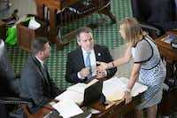 Sen. Bryan Hughes (center) briefly mounted a challenge to Straus while he was a representative in the Texas House.(Deborah Cannon/Austin American-Statesman)