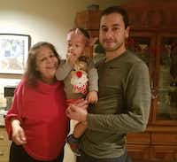 Lorraine Christensen with her son Oliver Christensen and grandson Henry.(Minhee Christensen)