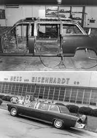 "The limousine that John F. Kennedy was assassinated in on a trip to Dallas was sent back to Ford and partner Hess & Eisenhardt to rebuild and improve its safety and design. The project started around Dec. 1963 and was dubbed the ""Quick Fix."" These photos show the process and the rebuilt car on display in front of Hess & Eisenhardt's headquarters in Cincinnati, Ohio before it was sent back to the White House.(The Henry Ford Museum)"