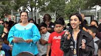 Pam Garcia (left) and former assistant city attorney and community prosecutor Kelsey Ciluffo at last year's Park Day event where it was announced that Esperanza would replace Maham as the street name.(Rand Gowan/YouTube)