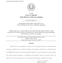 Judge Carolyn Wright's dismissal of Beck and The Blaze from the Mohameds' appeal.<br>(Fifth District of Texas<br>/<br>)