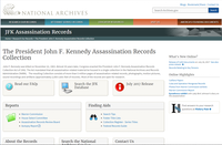 The National Archives landing page for the JFK Assassination Records.