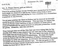 A Nov. 24, 1963 correspondence from the FBI detailing known threats on Oswald's life prior to his slaying.