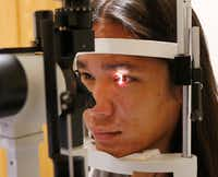 <p>Mason Two Crow, 22, who has an inherited eye disease called X-Linked Retinoschisis, is being treated by Dr. David Birch at the Retina Foundation of the Southwest in Dallas.</p>(David Woo/Staff Photographer)