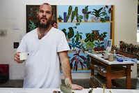 Artist Jonas Wood, in his studio.(Manfredi Gioacchini/Courtesy of the artist)