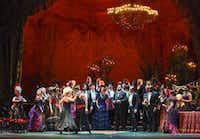 Dancers entertain a party crowd in the Dallas Opera's <i>La traviata.</i>(Karen Almond/Dallas Opera)