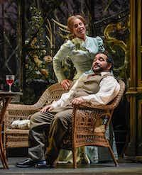 Georgia Jarman as Violetta and René Barbera as Alfredo sharing a tranquil interlude in the Dallas Opera production of <i>La traviata.</i>(Karen Almond/Dallas Opera)