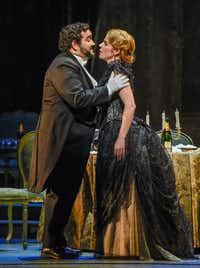 "<p>Georgia Jarman as Violetta and<span style=""font-size: 1em; background-color: transparent;"">René</span><span style=""font-size: 1em; background-color: transparent;"">Barbera as Alfredo Germont in Verdi's <i>La Traviata</i>.</span></p>(Dallas Opera/<p></p><p>Karen Almond</p>)"