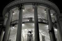 <p>Giant spiders and webs hang from the White House for Halloween.</p>(<p>Olivier Douliery</p>/Getty Images)
