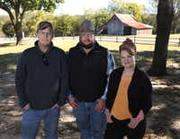 Chef Matt Balke of Bolsa restaurant, Cade Nichols of A Bar N Ranch and Chef Janice Provost of Parigi recently took a tour of the ranch in Sherman.(Louis DeLuca/Staff Photographer)