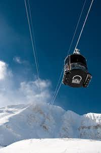 A tram car heads toward the summit of Lone Peak at Montana's Big Sky Resort.  This year, the resort has upgraded its beginner area surface lifts and installed a new chairlift to serve the Ulery's Lake area.(Dan Leeth/Dan Leeth/Special Contributor)