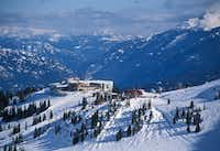 The Roundhouse Lodge sits above the village at British Columbia's Whistler Blackcomb.  To enjoy the view, the new Whisky Jack's Umbrella Bar here will feature seats on a heated patio.(Dan Leeth/Special Contributor)