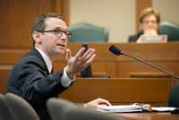 Texas Education Agency Commissioner Mike Morath speaks at a House Public Education Committee hearing at the Capitol in Austin about Hurricane Harvey's impact on schools. (Jay Janner/AP)