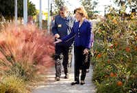 Former First Lady Laura Bush, the founder of Texan by Nature, visits Klyde Warren Park with its vice president of operations Michael Gaffney. (Tom Fox/Staff Photographer)