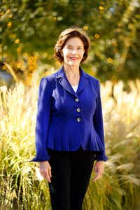 Former First Lady Laura Bush, the founder of Texan by Nature, poses for a photo following her visit to Klyde Warren Park in downtown Dallas. (Tom Fox/Staff Photographer)