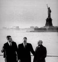President-elect George Bush, President Ronald Reagan and Soviet leader Mikhail Gorbachev met at New York's Governors Island in December 1988 to discuss Cold War disarmament. (File Photo/The Associated Press)