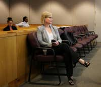 Dallas County Assistant District Attorney Stephanie Fargo waits for a February hearing for former Texas A&M quarterback Johnny Manziel to start. (Andy Jacobsohn/Staff Photographer)