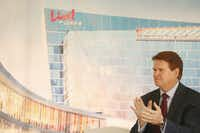 Arlington Mayor Jeff Williams applauds during a groundbreaking ceremony for Live! by Loews, a 302-room luxury hotel going up as part of the Texas Live! mixed-use development in Arlington.<div><br></div>(Andy Jacobsohn/Staff Photographer)
