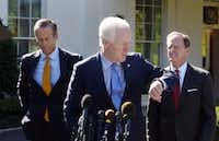 U.S. Senate Majority Whip Sen. John Cornyn, R-Texas, prepares to speak to members of the media with Sen. John Thune (left), R-S.D., and Sen. Pat Toomey, R-Pa., outside the West Wing of the White House after a meeting with President Donald Trump on Oct. 18, 2017.(Olivier Douliery/TNS)