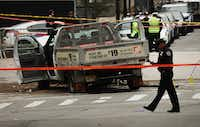 <p>The crashed vehicle used in what is being described as a terrorist attack sits in lower Manhattan on Wednesday, the morning after the attack.</p>(Spencer Platt/Getty Images)
