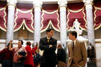 Republican Reps. Paul Ryan of Wisconsin (left) and Jeb Hensarling of Dallas walk to the House floor. Hensarling and Rep. Lamar Smith are retiring after their term ends in 2018.(2012 File Photo/The New York Times)