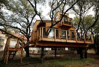 Larissa and her husband KC (last name withheld) built a tree house in their backyard in January 2017. Nelson Treehouse designed it on the Dallas property off Bridge Hollow Court. Larissa wanted the treehouse to include skylights, big windows and a deck, and KC requests an outdoor shower and bar. (Andy Jacobsohn/Staff Photographer)