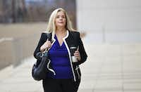 Helena Tantillo walks towards the federal courthouse in Austin on Jan. 20, 2016. Christian Campbell also testified against her for the government as part of his plea deal. (File Photo/Staff)
