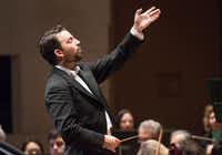 Conductor James Gaffigan leads the Dallas Symphony Orchestra on Thursday, Nov. 2, 2017.  (Rex C Curry/Special Contributor)