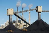 Piles of coal sit in front of Pacificorp's 1440 megawatt coal fired power plant on Oct. 9 in Castle Dale, Utah.  It was announced today that the Trump administration's EPA will repeal then Clean Power Plan,that was put in place by the Obama administration.(George Frey/Getty Images)