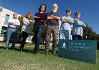 <p>Six citizens disturbed by what they call their town officials' conflicts of interest have been closely monitoring town business in recent months. From left: Tom Myers, Terri Sengbush, Katie Myers, Wes Pool, M.G. Johnson and Larry Sengbus. (David Woo/Staff Photographer)</p>(<p><br></p>)