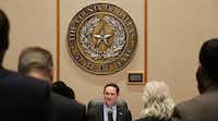 Dallas County Judge Clay Jenkins during a Dallas County Commissioners Court meeting in the Dallas County Administration Building downtown in February.(Andy Jacobsohn/Staff Photographer)
