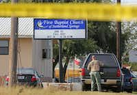 "<p><span style=""font-size: 1em; background-color: transparent;"">A Texas Ranger works the scene as the investigation continues Monday at First Baptist Church of Sutherland Springs, where 26 people were killed Sunday when a man later identified as Devin Patrick Kelley opened fire on the 11 a.m. service.</span></p>(Staff Photographer/Louis DeLuca)"