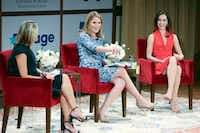 Jenna Bush Hager (center) and sister Barbara Bush (right) speak at the Sisters First: Stories from Our Wild and Wonderful Life event promoting their book on Sunday at the George W. Bush Presidential Center in Dallas(Special Contributor/Allison Slomowitz)